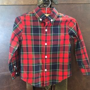 Janie and Jack Boys Holiday Red Plaid Shirt 2T